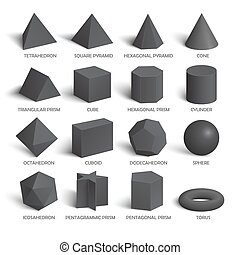 All basic 3d shapes template in dark. Realistic with shadow....