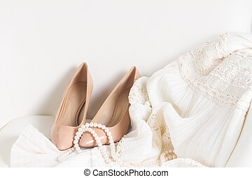 Female accessories on white - view of female accessories on...