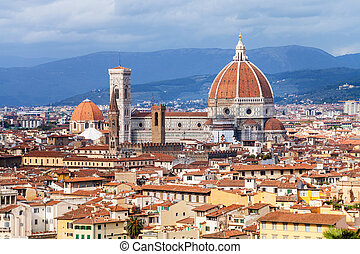above view of Florence city with Duomo