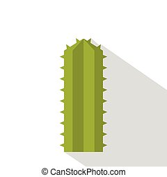 Green Cereus Candicans cactus icon, flat style - Green...