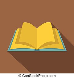 Open book with yellow pages icon, flat style - Open book...
