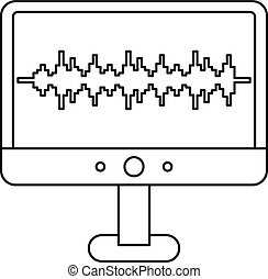 Sound waves on a computer monitor icon. Outline illustration...