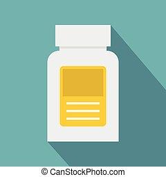 Pharmaceuticals bottle icon, flat style