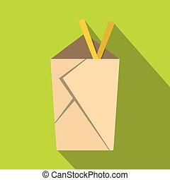 Chinese take out box with chopsticks inside icon