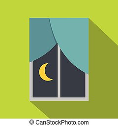 Night view from a window icon, flat style - Night view from...