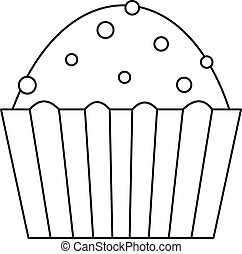 Muffin cake icon, outline style - Muffin cake icon. Outline...