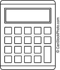 Calculator icon, outline style - Calculator icon. Outline...
