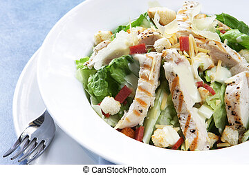 galinha, caesar, salada
