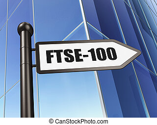 Stock market indexes concept: sign FTSE-100 on Building...