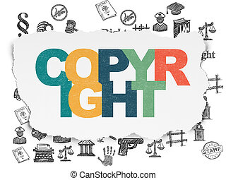 Law concept: Copyright on Torn Paper background - Law...