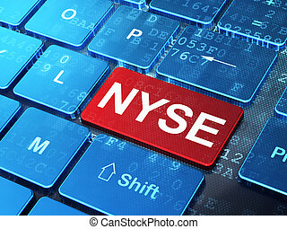 Stock market indexes concept: NYSE on computer keyboard...