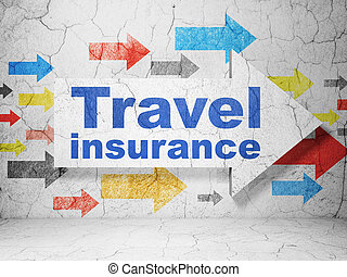 Insurance concept: arrow with Travel Insurance on grunge...