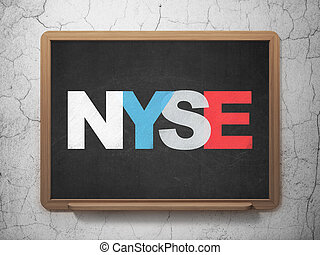 Stock market indexes concept: NYSE on School board...