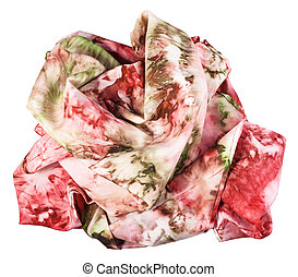 crumpled silk scarf with abstract red ornament - crumpled...