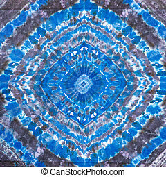 blue and black abstract geometric pattern on batik - textile...