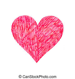 Abstract bright heart on white background, hand draw