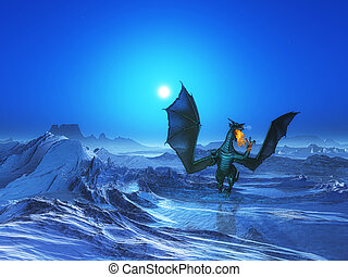 3D fire breathing dragon in icy landscape - 3D render of a...