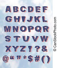 American Flag Whimiscal Block Font with Shadow - Whimsical...