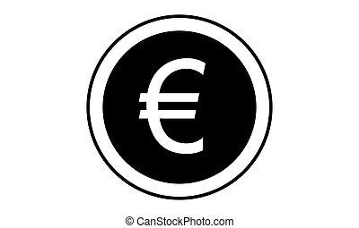 Pictogram - Euro, Euro coin, Coin, Coins, Change, Exchange,...