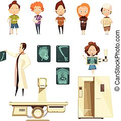 Bone Injury X-ray Cartoon Icons Collection