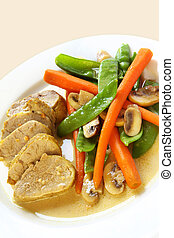 Pork Fillet - Pork fillet with a mustard sauce, and a...