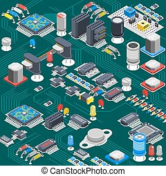 Isometric Circuit Board Composition - Semiconductor...