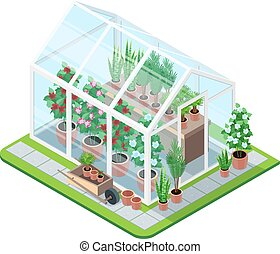 Greenhouse isometric composition - Greenhouse isometric set...