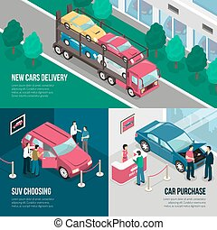 Car Dealership Leasing Design Concept Set - Colored car...