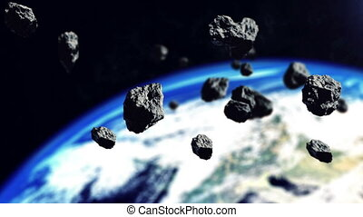 Asteroids and The Earth planet. - Closeup 3d rendering of...