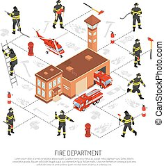 Fire Department Infographic - Colored isometric fire...
