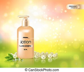 Gold Bottle Of Lotion For Skin Hydration - Organic cosmetic...