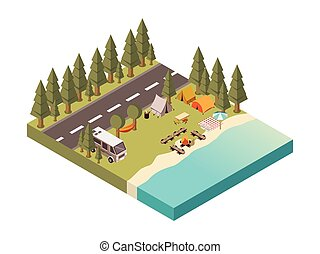 Camp Between Road And Lake Illustration - Camp between road...