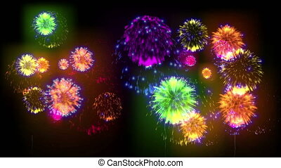 4K multiple fireworks. Beatiful colorful big firecrakers. 3d animation, different versions. 7