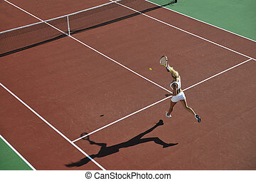 young woman play tennis - young fit woman play tennis...