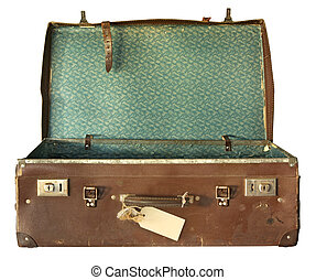 Vintage Suitcase, Open - Vintage brown leather suitcase,...