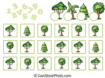 Counting Game for Children with trees. Educational...