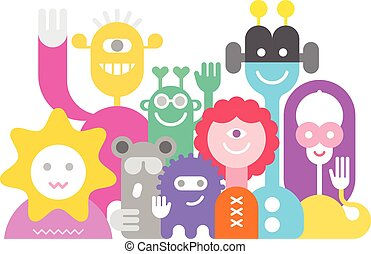 Cheerful Aliens - Large group of friendly cheerful aliens...