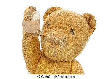 Vintage Teddy Bear Injured - Vintage teddy bear injured,...