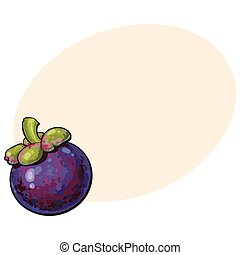 Whole unpeeled, uncut purple mangosteen, mangostin tropical...