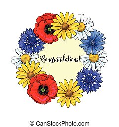 Greeting card, postcard template with wreath of wild, field flowers