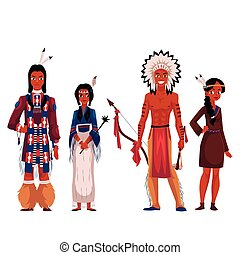 Native American Indians, men and women, in traditional...