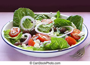 Greek Salad - Greek salad in old enamel bowl. Delicious...