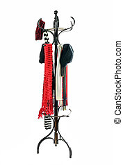 Coat Rack with Hats and Scarves - Vintage coat rack with...