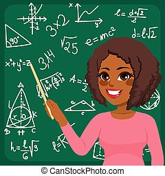 Woman Teaching Maths - Beautiful young African American...