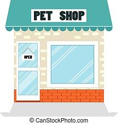 Pet Shop Flat Store - Illustration of pet shop building...