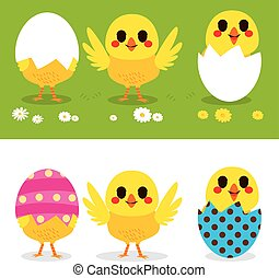 Happy Easter Chicks - Happy Easter cute little chicks on...
