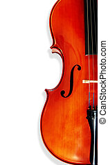 Cello, isolated on white with shadow. Musical instrument...