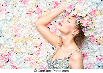 blooming flowers - Beautiful romantic young woman in a...