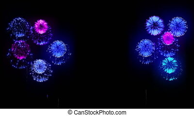4K multiple fireworks. Beatiful colorful big firecrakers. 3d animation, different versions. 13