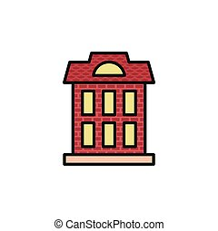 Isolated vinous color low-rise municipal house in lineart...